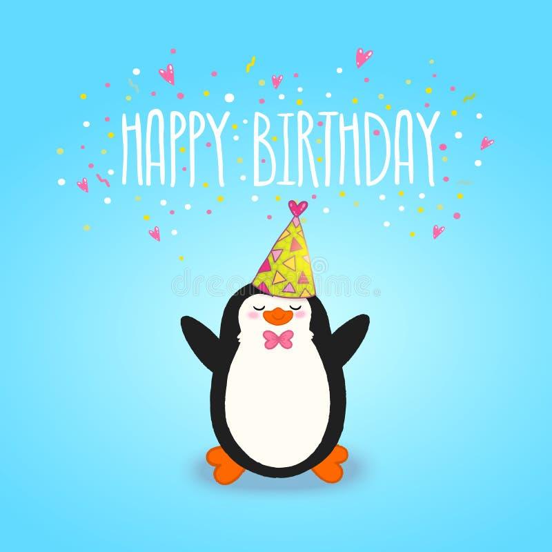 Fondo felice del biglietto di auguri per il compleanno con il pinguino sveglio. royalty illustrazione gratis