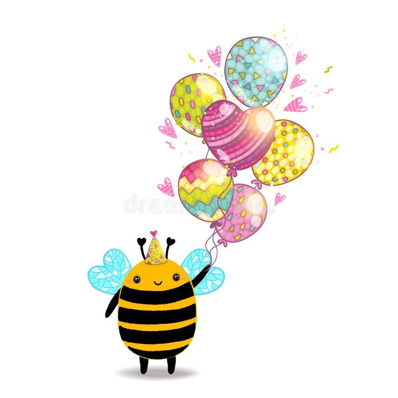 Fondo felice del biglietto di auguri per il compleanno con un'ape royalty illustrazione gratis