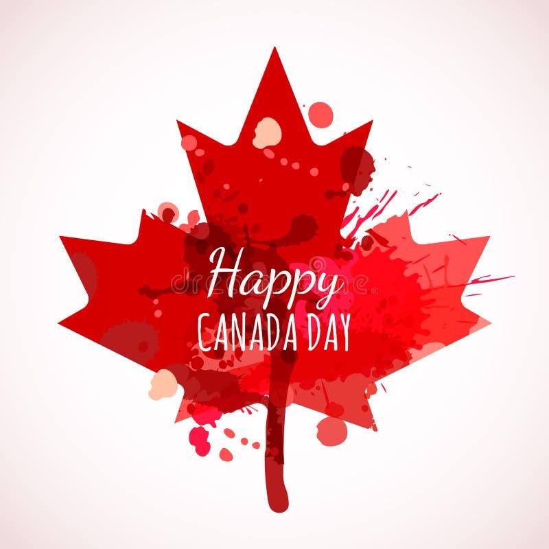 Fondo felice dell'acquerello di giorno del Canada Manifesto di festa con la foglia di acero rossa del Canada royalty illustrazione gratis