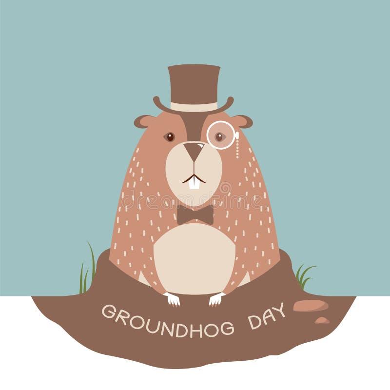 Fondo felice della carta della marmotta royalty illustrazione gratis
