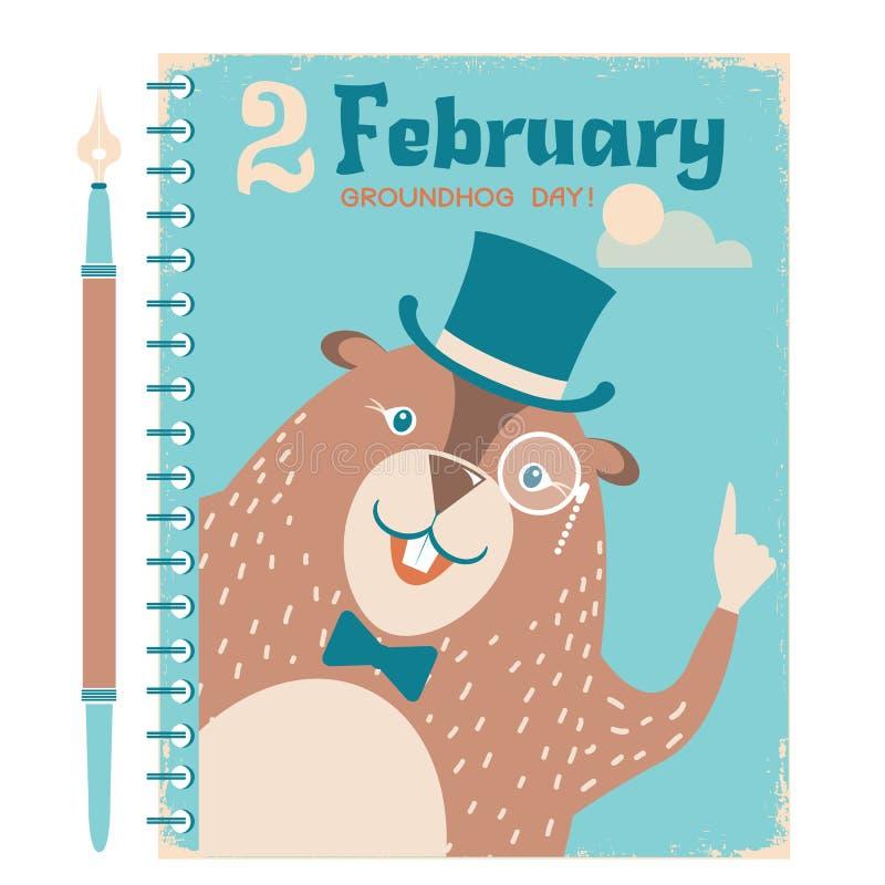 Fondo felice della marmotta con la marmotta sulla carta d'annata del taccuino illustrazione di stock