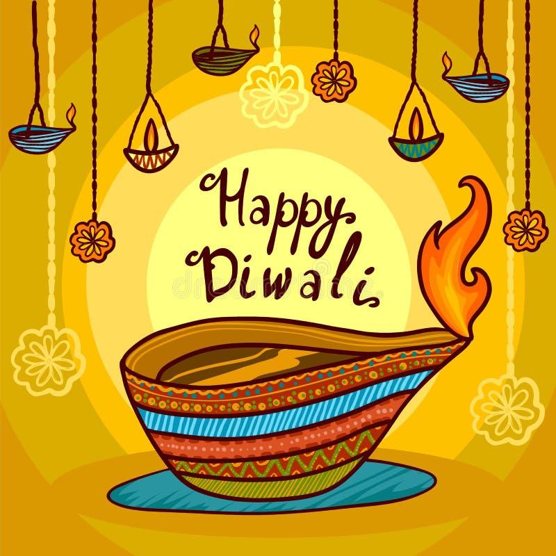 Fondo felice di concetto di diwali dell'India, stile disegnato a mano royalty illustrazione gratis