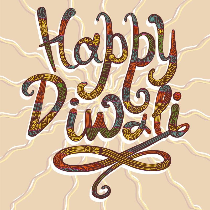 Fondo felice di concetto di diwali, stile disegnato a mano illustrazione di stock
