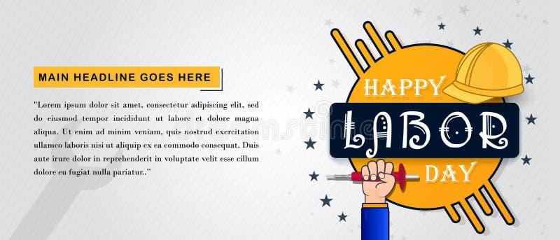 Fondo felice di festa del lavoro con gli strumenti di lavoro illustrazione di stock