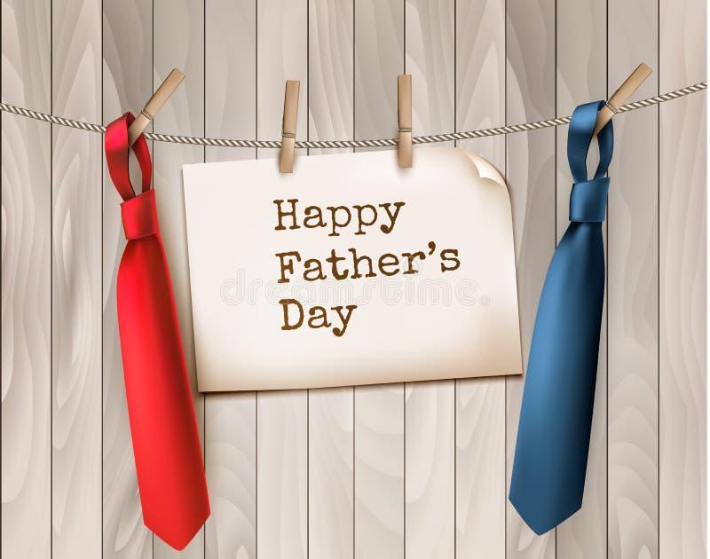 Fondo felice di festa del papà con due legami sul contesto di legno illustrazione di stock