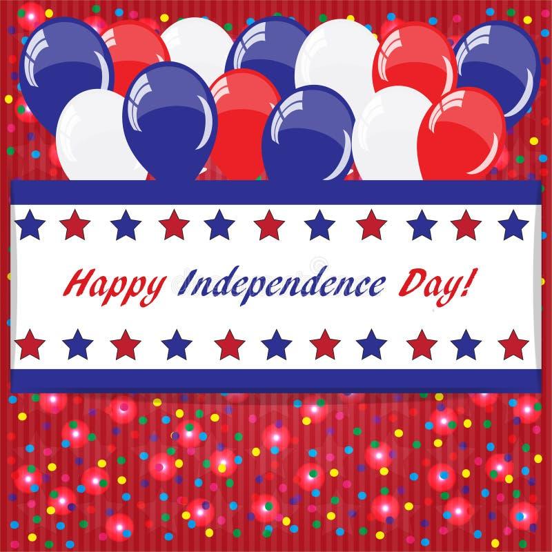 Fondo felice di festa dell'indipendenza con i palloni illustrazione vettoriale
