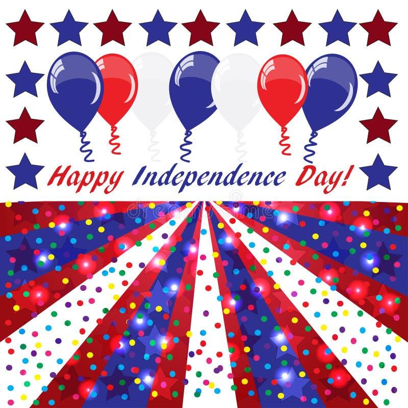 Fondo felice di festa dell'indipendenza con i palloni royalty illustrazione gratis