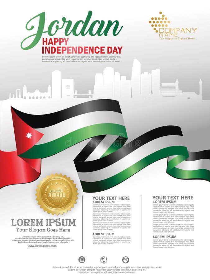 Fondo felice di festa dell'indipendenza della Giordania con la città d'ondeggiamento della siluetta e della bandiera del Giordan illustrazione vettoriale