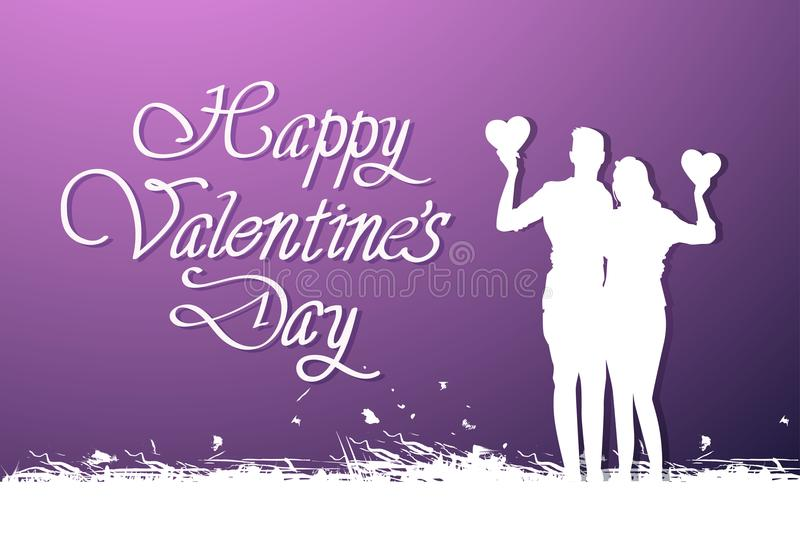 Fondo felice di giorno di biglietti di S. Valentino con l'abbraccio bianco creativo delle coppie della siluetta e dell'iscrizione illustrazione vettoriale