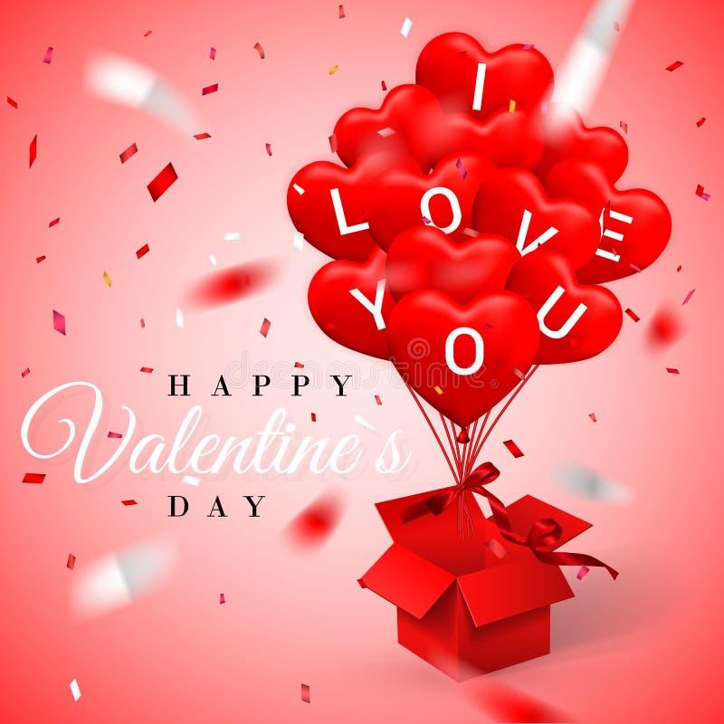 Fondo felice di giorno di biglietti di S. Valentino, pallone nella forma di cuore con l'arco e nastro e scatola rossa aperta Illu royalty illustrazione gratis