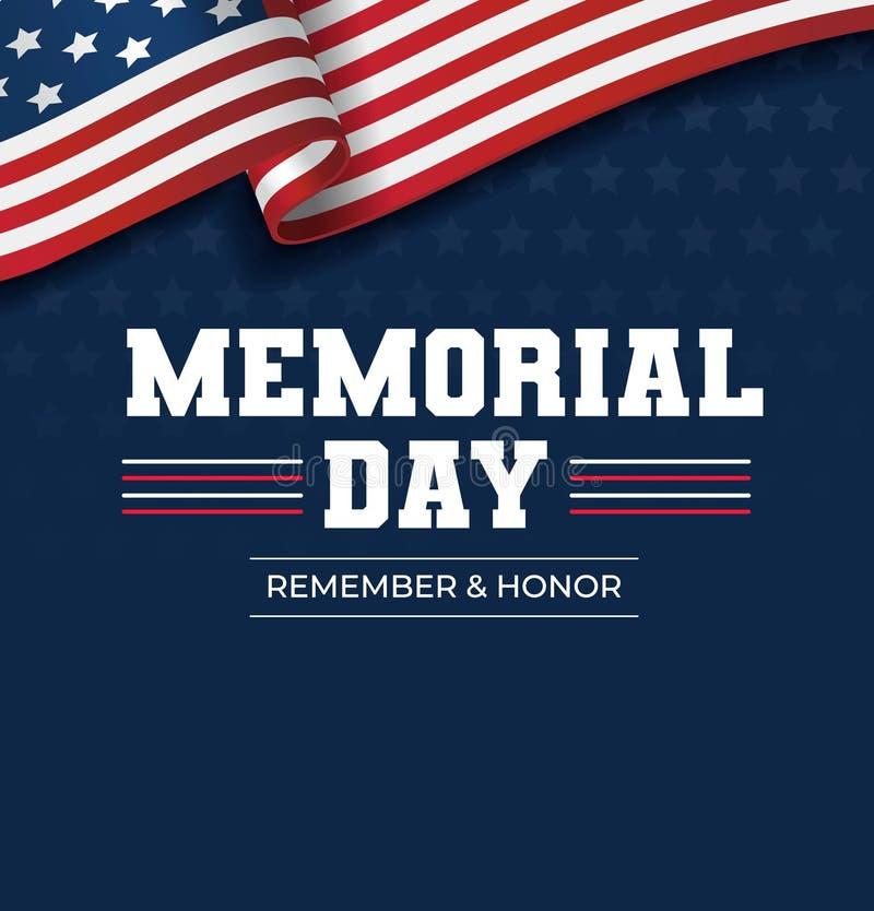 Fondo felice di Giorno dei Caduti Illustrazione americana nazionale di festa Cartolina d'auguri di Giorno dei Caduti di vettore