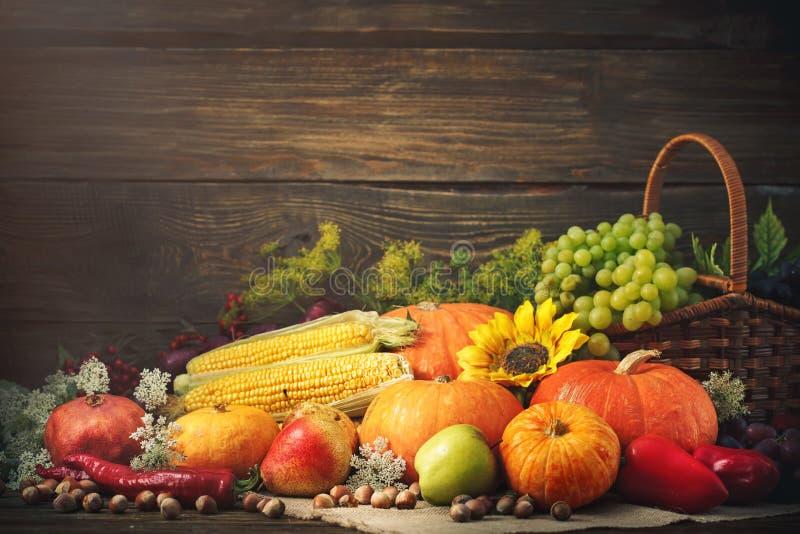 Fondo felice di giorno di ringraziamento, tavola di legno decorata con le zucche, mais, frutti e foglie di autunno immagine stock
