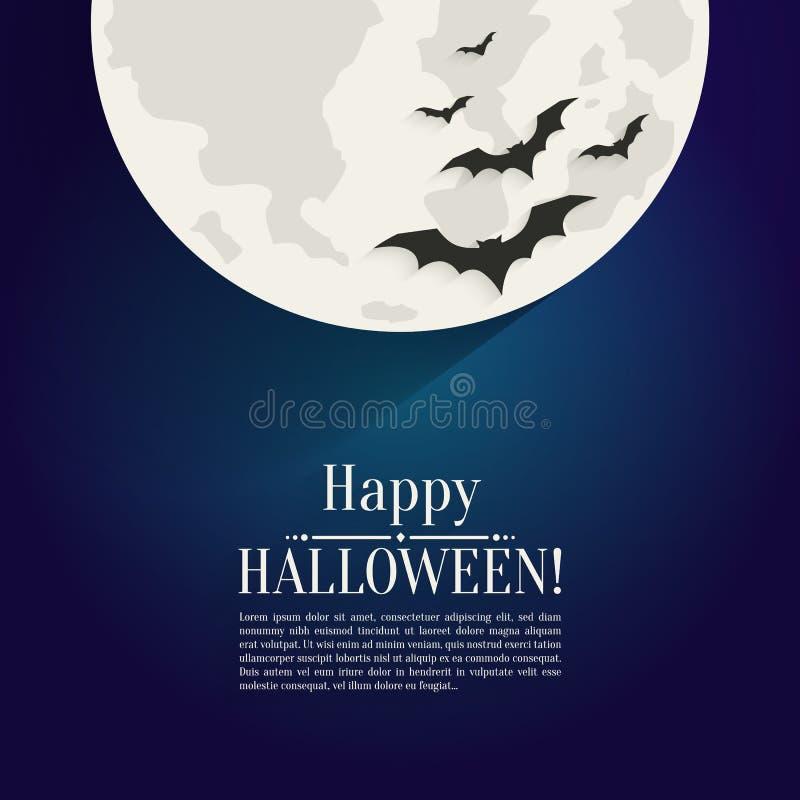 Fondo felice di Halloween con i pipistrelli delle siluette e della luna illustrazione di stock