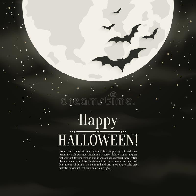 Fondo felice di Halloween con i pipistrelli delle siluette e della luna Illustrazione di vettore royalty illustrazione gratis