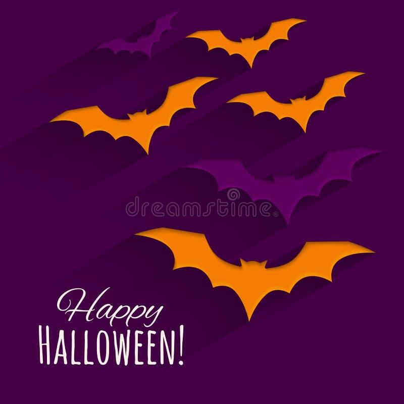 Fondo felice di Halloween con i pipistrelli delle siluette Illustrazione di vettore illustrazione vettoriale