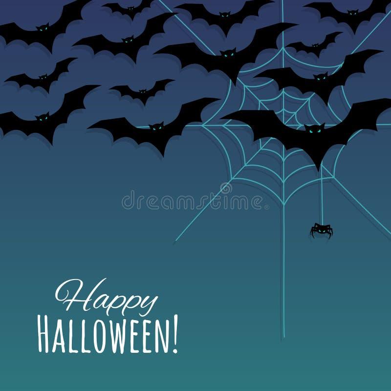 Fondo felice di Halloween con i pipistrelli delle siluette, la ragnatela ed il piccolo ragno illustrazione di stock