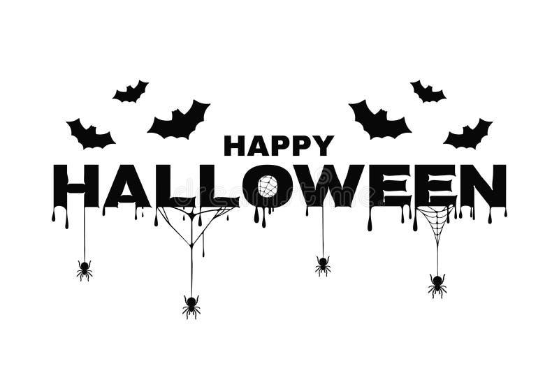 Fondo felice di Halloween con testo, i pipistrelli, la ragnatela ed il sangue Fondo di Halloween per il manifesto, insegna, carto illustrazione di stock