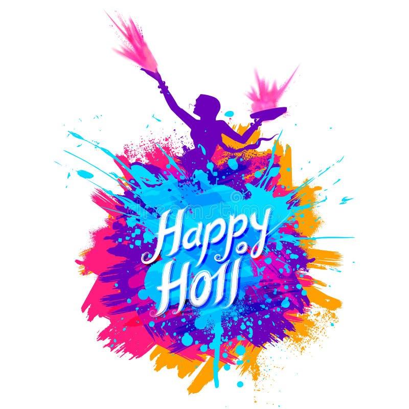 Fondo felice di Holi per il festival di colore dei saluti di celebrazione dell'India illustrazione di stock