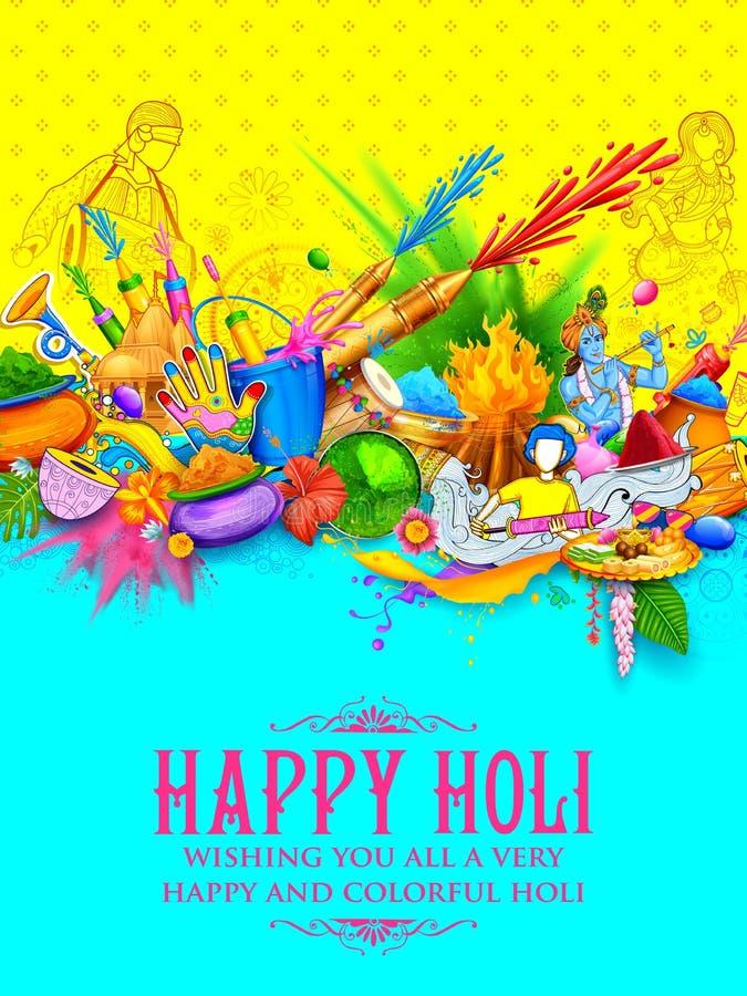 Fondo felice di Holi per il festival dei saluti di celebrazione di colori royalty illustrazione gratis