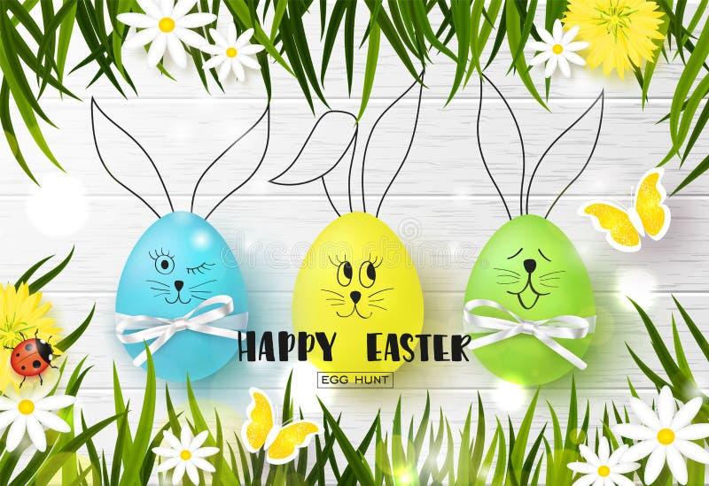 Fondo felice di Pasqua con le uova, l'erba, i fiori, la coccinella e la farfalla variopinti divertenti su struttura di legno Cacc illustrazione di stock