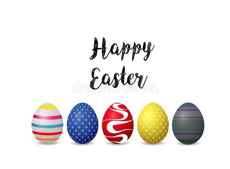 Fondo felice di pasqua con le uova di Pasqua variopinte su fondo bianco fotografia stock libera da diritti
