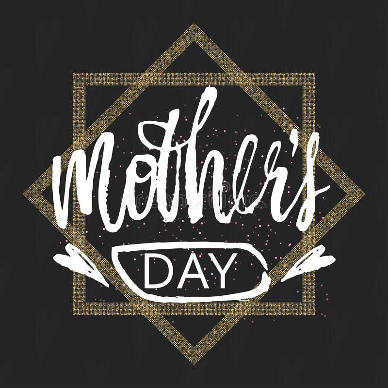 Fondo felice di progettazione di giorno della madre s Progettazione di iscrizione Cartolina d'auguri Modello del fondo di calligr illustrazione di stock