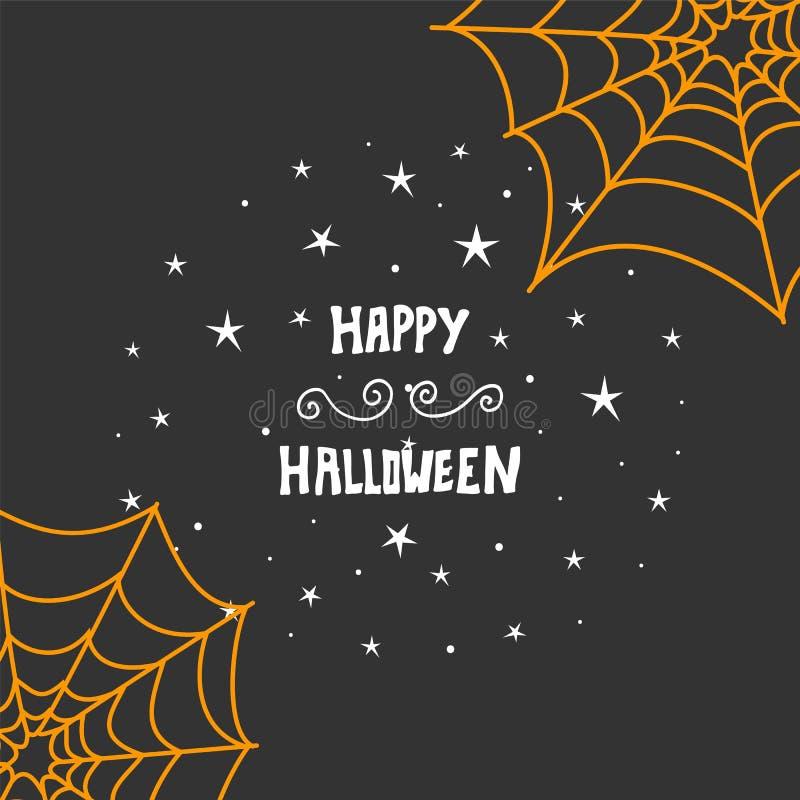Fondo felice di progettazione di messaggio di Halloween Iscrizione disegnata a mano illustrazione di stock