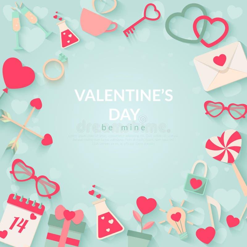 Fondo felice di vettore di giorno di biglietti di S. Valentino illustrazione di stock
