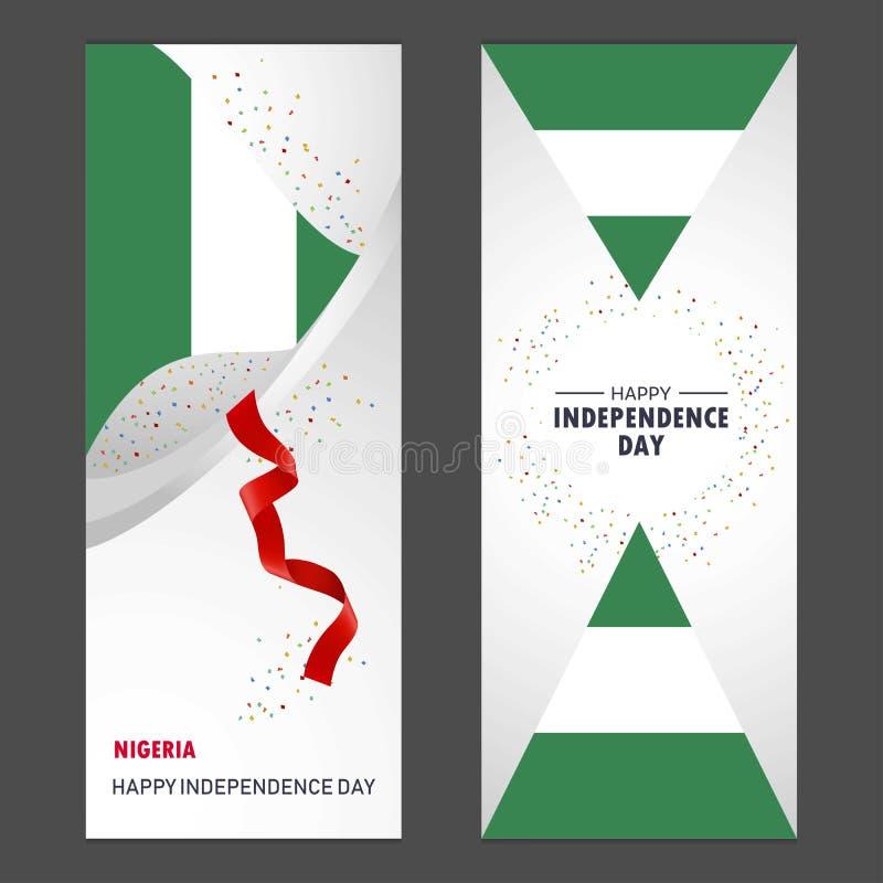 Fondo felice V di celebrazione dei coriandoli di festa dell'indipendenza della Nigeria royalty illustrazione gratis