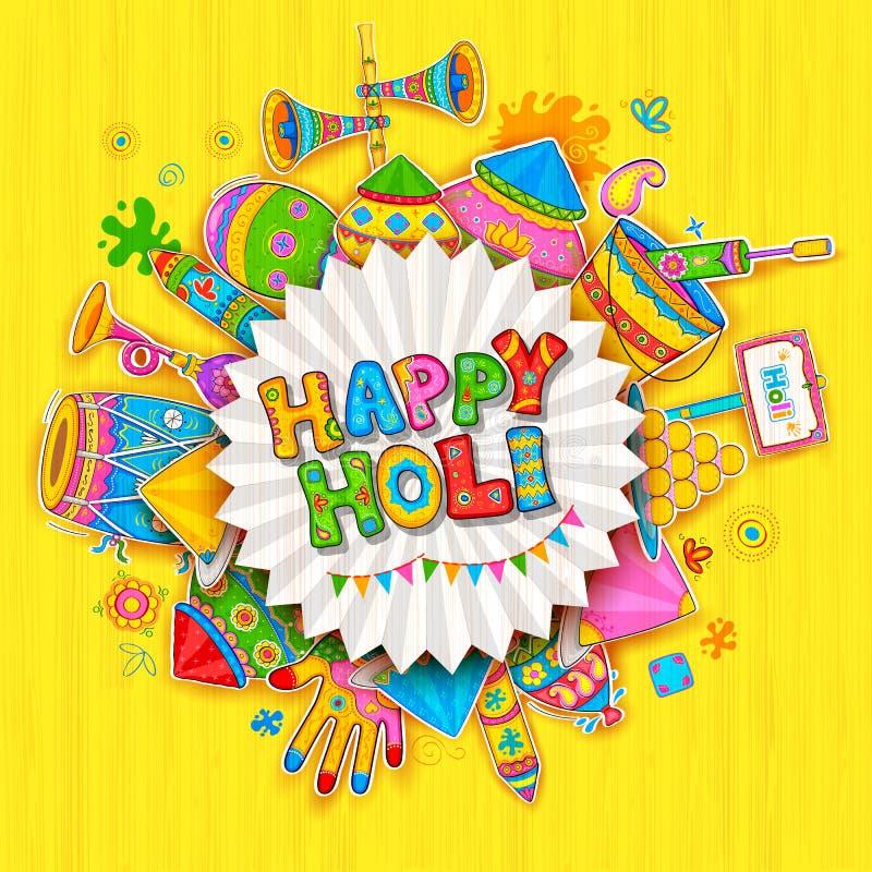 Fondo feliz de Holi para el festival de los saludos de la celebración de los colores stock de ilustración