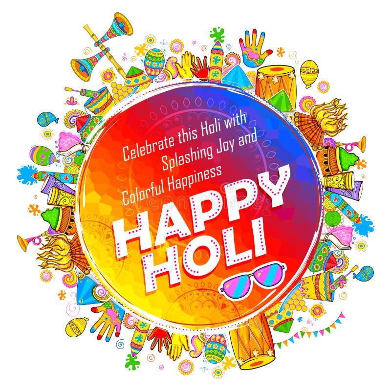 Fondo feliz de Holi para el festival de los saludos de la celebración de los colores ilustración del vector