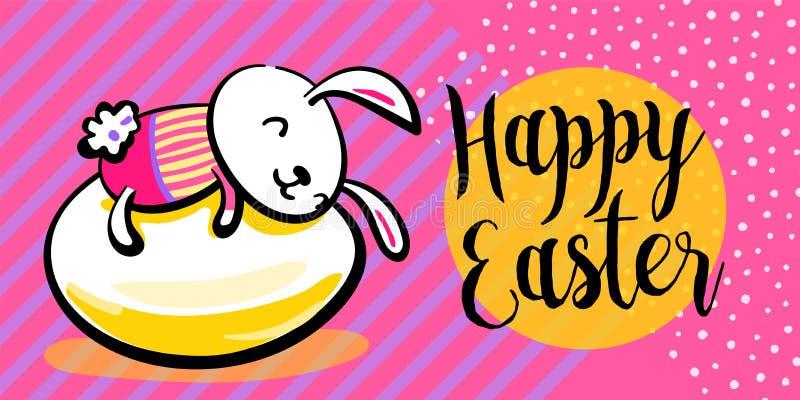 Fondo feliz de la bandera del saludo de pascua con el conejito vestido lindo en el huevo, abrazándolo Textura rayado y de los pun stock de ilustración