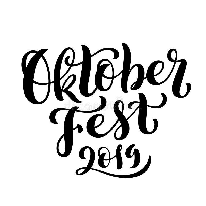 Fondo feliz 2019 de la celebración de Oktoberfest Letras Handdrawn Vector stock de ilustración