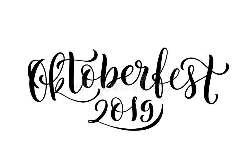Fondo feliz 2019 de la celebración de Oktoberfest Letras Handdrawn Vector ilustración del vector