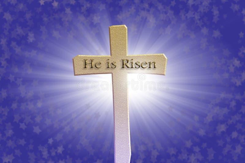 Fondo feliz de la cruz de Pascua; concepto de la resurrección con las estrellas; Él es texto subido ilustración del vector