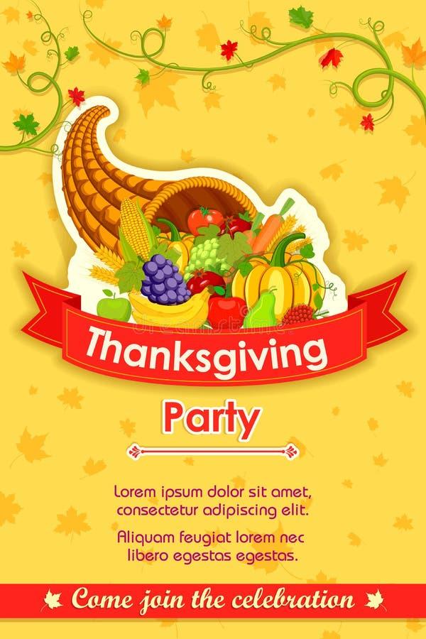 Fondo feliz de la invitación del partido de la acción de gracias libre illustration