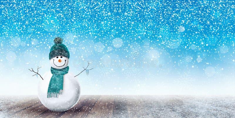 Fondo feliz de la Navidad del muñeco de nieve fotografía de archivo