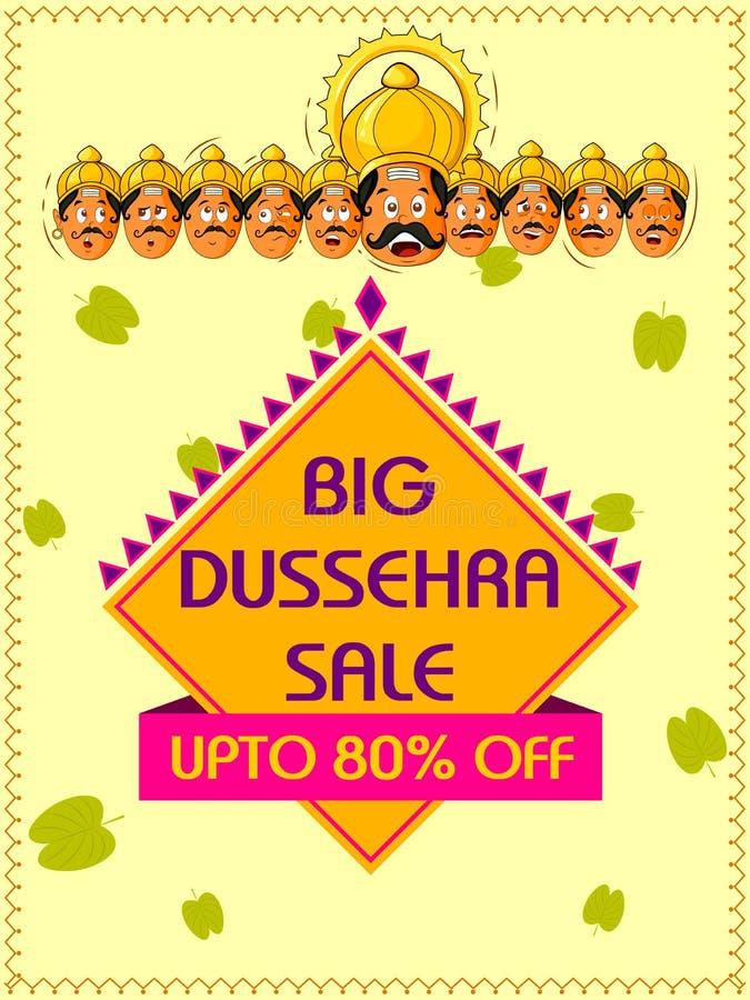 Fondo feliz de la plantilla del anuncio de la promoción de venta de Dussehra para el festival de Navratri de la India ilustración del vector