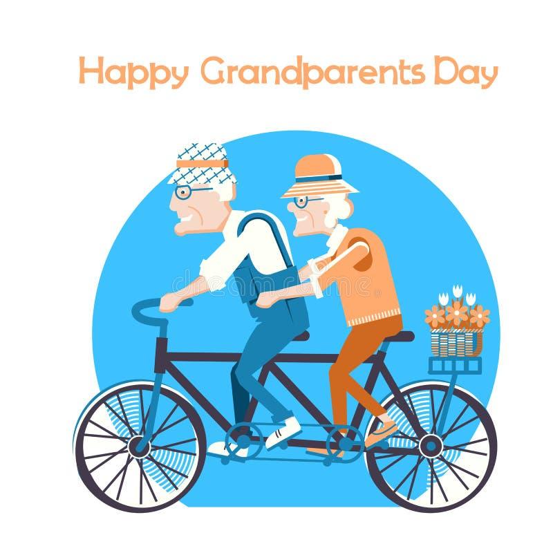 Fondo feliz de la tarjeta del día de fiesta del día de los abuelos stock de ilustración
