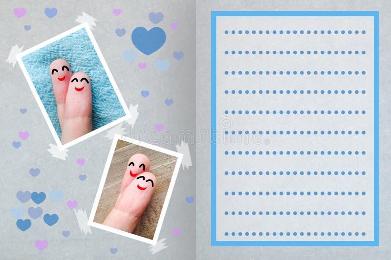 Fondo feliz de la tarjeta del día del ` s de la tarjeta del día de San Valentín de los fingeres imágenes de archivo libres de regalías