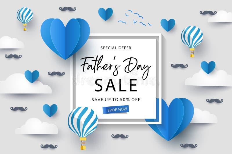 Fondo feliz de la venta del d?a de padres con los corazones de la papiroflexia del vuelo sobre las nubes con los balones de aire  ilustración del vector