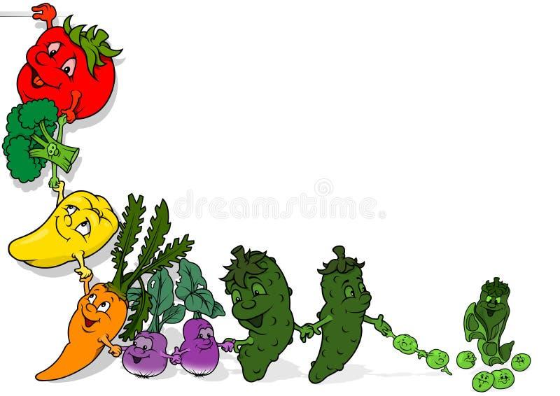 Fondo feliz de las verduras stock de ilustración