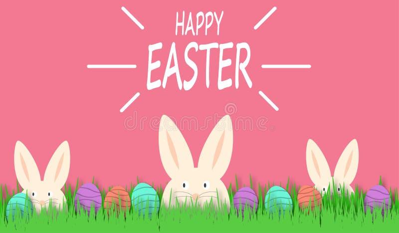 Fondo feliz de Pascua con el conejo y los huevos de Pascua blancos divertidos Conejito lindo de Pascua en hierba verde Decoración libre illustration