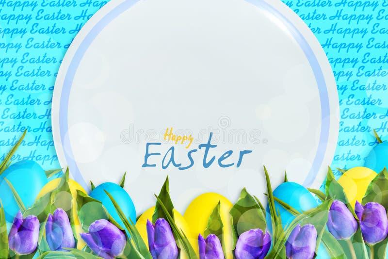 Fondo feliz de Pascua con los huevos de Pascua multicolores y una placa blanca y tulipanes en un fondo azul Copie el espacio Telé fotos de archivo libres de regalías