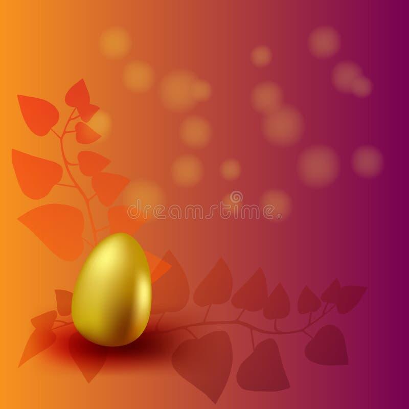 Fondo feliz de Pascua con los huevos y el confeti adornados brillo de oro realista Tarjeta de felicitación del ejemplo del vector ilustración del vector