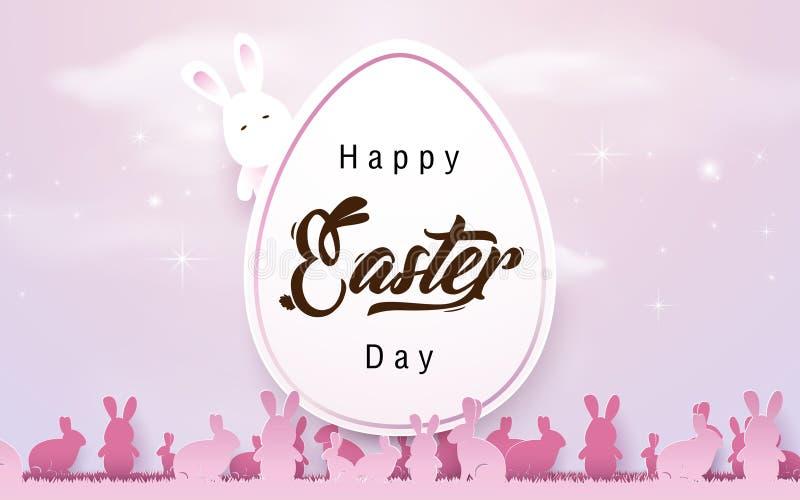 Fondo feliz de pascua Huevo de Pascua con los conejos en color de tono rosado ilustración del vector