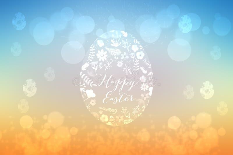 Fondo feliz de pascua Textura azul del fondo de la primavera de la pendiente anaranjada abstracta con un huevo grande y muchos má stock de ilustración
