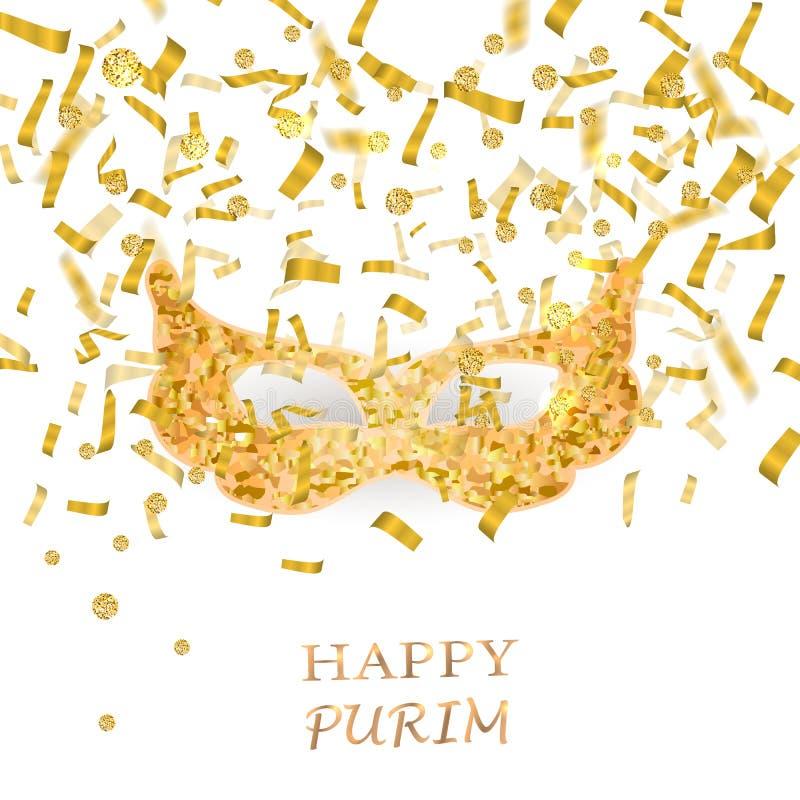Fondo feliz de Purim con la máscara del oro fotos de archivo