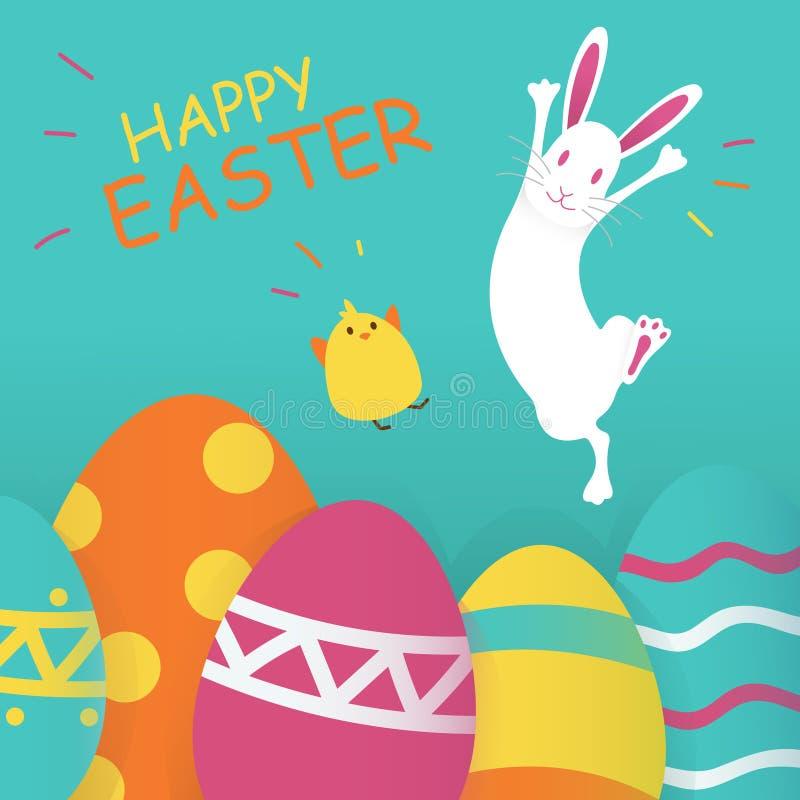Fondo feliz del azul de Pascua Ilustración del vector Concepto del día de fiesta de la primavera, lugar para el texto Iconos plan libre illustration