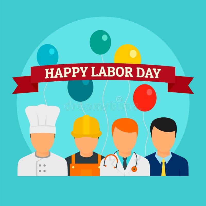 Fondo feliz del día de fiesta del Día del Trabajo, estilo plano stock de ilustración